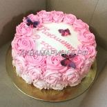 Кремовый торт с розами на 2 года девочке
