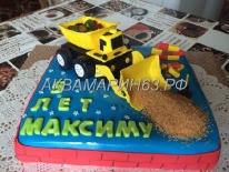 Торт на 5 лет мальчику - экскаватор