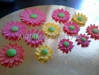 Подготовка цветов для торта